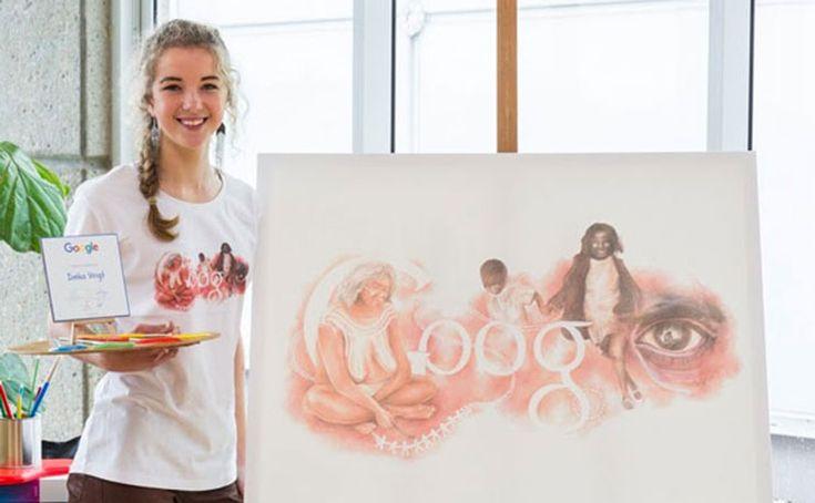 Ineka Voigt, with her winning artwork, entitled 'Stolen Dreamtime'.