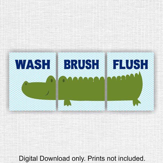 Navy Blue Green Alligator Boy Bathroom Wall Decor Set Of 3, 8x10, Wash Brush