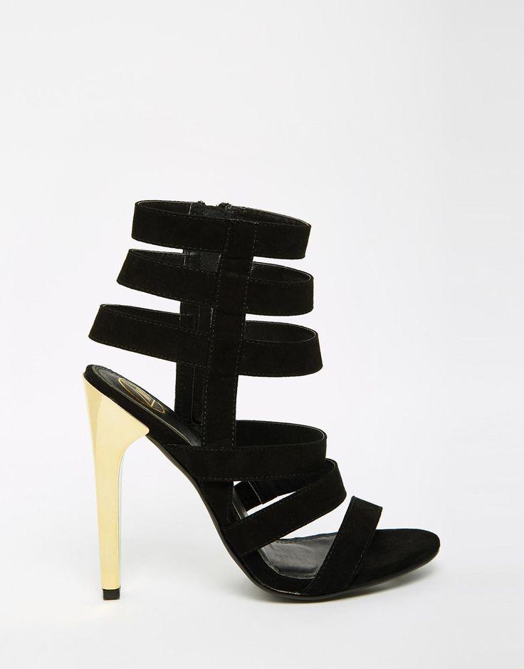 Изображение 2 из Сандалии с ремешками на золотистом каблуке Missguided