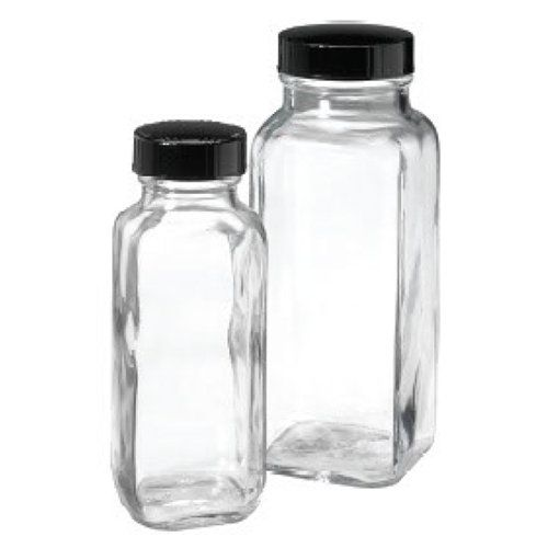 8 Oz Clear Glass French Square Bottles Black Phenolic Cap