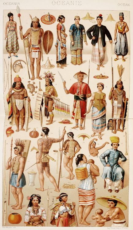 "OLD MALAYSIA, MICRONESIA, MELANESIA AND POLYNESIA: drawings from ""Le costume historique(…)"" vol.2 by Auguste Racinet, 1888."