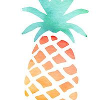 Watercolour Pineapple by owlHouseINK