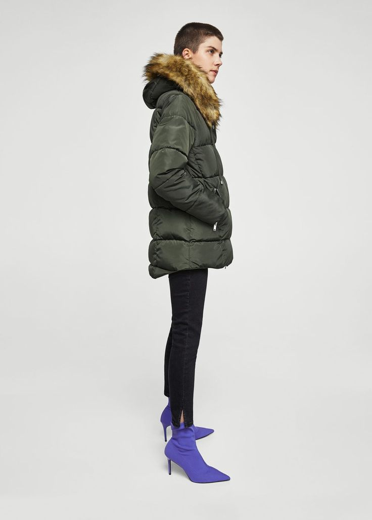Fur collar quilted coat - Woman   MANGO Albania