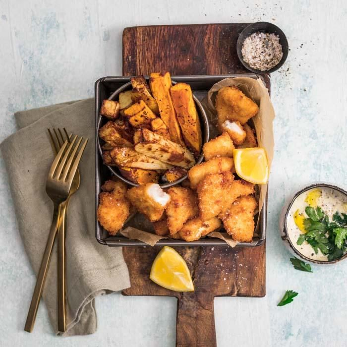 Youfoodz | Classic Fish & Chips $9.95 | Light crumbed Snapper, with thick-cut white & sweet potato chips | #Youfoodz #HomeDelivery #YoullNeverEatFrozenAgain
