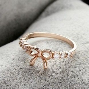 Simple hollow diamond bow ring,only $1 shop at www.cost21.com, all kind cheap fashion rings ,earrings,jewelry at Cost21.com