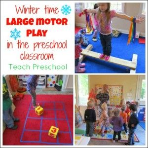 Winter time large motor play by Teach Preschool