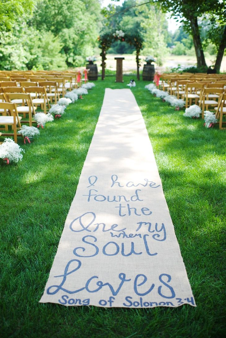 Hand Painted Burlap Aisle Runner Photo Justin Wright Photography