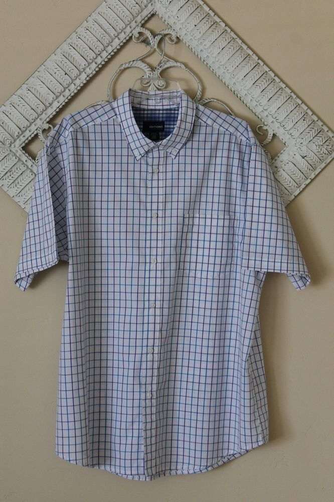 377fac76e8c3 BASIC EDITIONS Men s Easy Care Short Sleeve Button Down Shirt Size (XL) EUC!