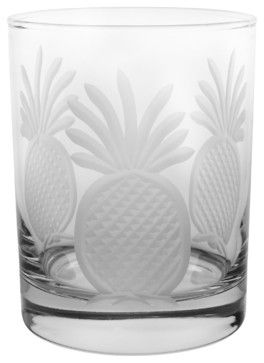 Pineapple DOF 14oz, Set of 4 - tropical - cups and glassware - Rolf Glass
