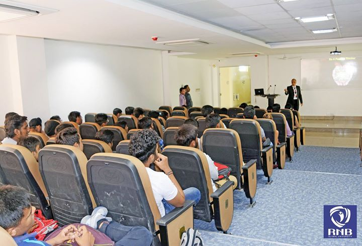 As part of the RNB Global Universitys Orientation Programme 2016 an intellectual interactive session was held by Prof. Sanjay Pal. RNBGUs education system helps a student to become more confident determined & develops a sense of purpose for a lifetime to achieve great career success.   For more information visit www.rnbglobal.edu.in or call us at 1800-313-0075