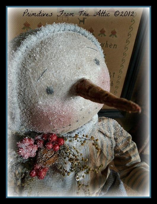 A Primitive Folk Art Snowman Christmas Doll with Tree and Crow | eBay