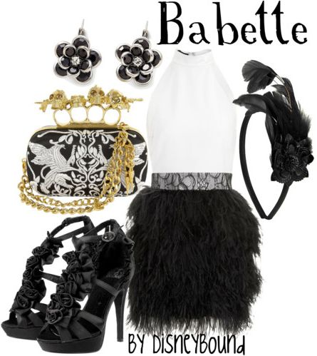 I love the feather skirt, and the headband! And the clutch is adorable (although the handle should be silver) The ruffles on the shows is perfect!