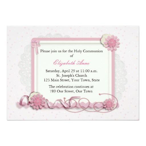 Rose et groupe floral de crème religieux carton d'invitation  12,7 cm x 17,78 cm