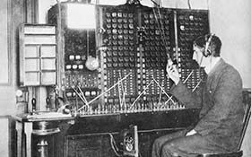 A.H.C.Long at the Telephone Exchange on Queen Street, 30 September, 1898
