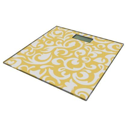 Cute Corn Yellow White Damask Floral Pattern Bathroom Scale - #chic gifts diy elegant gift ideas personalize