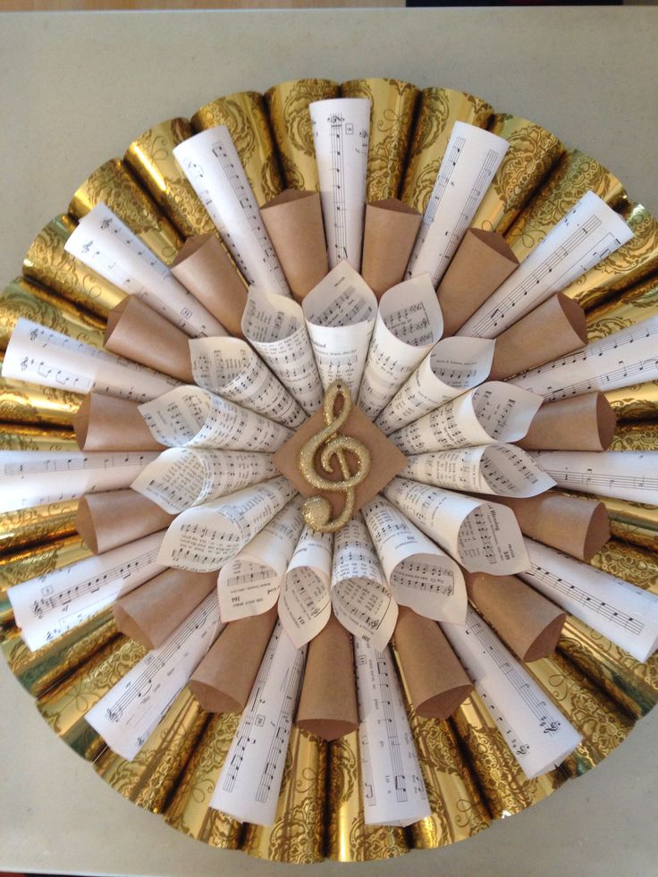 Wreath made from sheet music and wrapping paper. Glued together with hot glue.