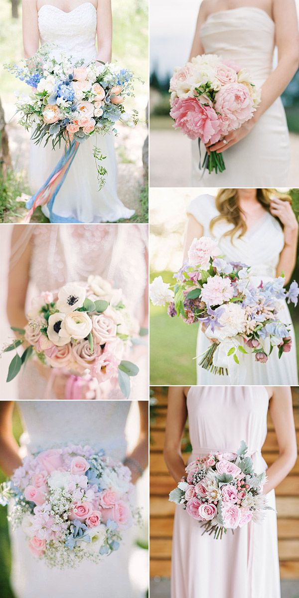 pink and blue hued wedding bouquets for 2016 trends