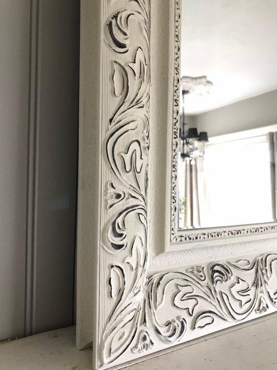 Off White And Black Distressed Mirror Distressed Mirror Painting Mirror Frames Mirror Painting