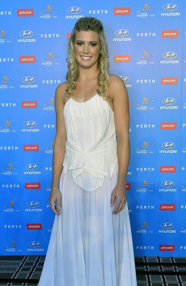 """Eugenie Bouchard: Looking lovely at the Hyundai Hopman Cup 2014 New Years Eve Ball. She was voted into the No. 2 spot by viewers on #Tennis Channel's """"Best of 5 Heartthrobs"""" list."""