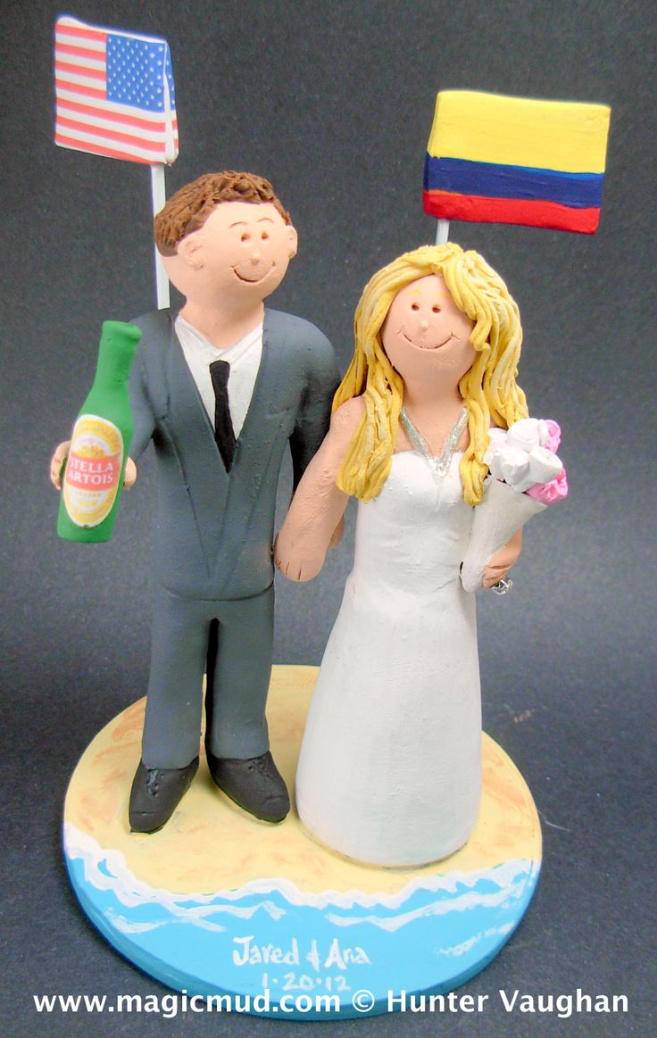 custom made Colombian Bride and American Groom wedding cake toppers by http://blog.magicmud.com  $235  magicmud@magicmud.com  1 800 231 9814  https://www.facebook.com/PersonalizedWeddingCakeToppers  https://twitter.com/caketoppers  #columbia#flags#columbian#flag#beach#mixed_marriage#wedding #cake #toppers  #custom #personalized #Groom #bride #anniversary #birthday#weddingcaketoppers#cake toppers#figurine#gift#wedding cake toppers