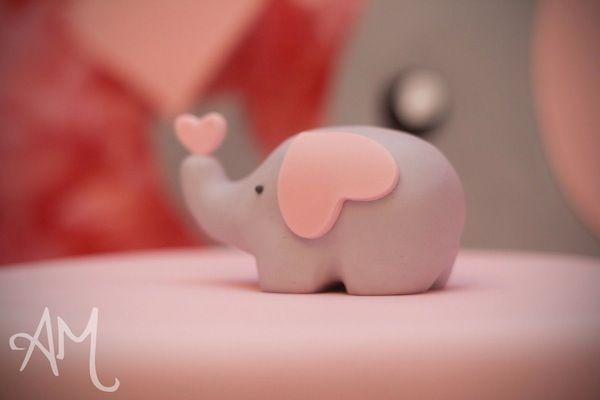 Pink Elephant 1st Birthday Party - Fondant Elephant Cake topper