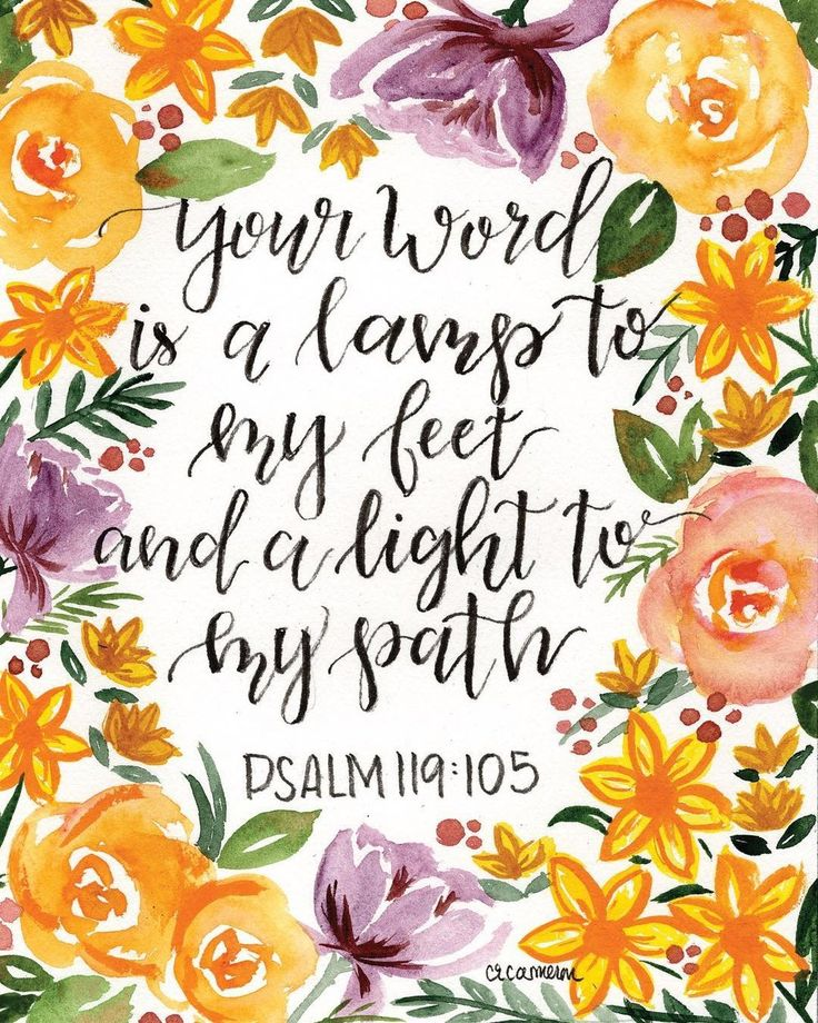Bible verse, psalm 119, hang lettering, floral, loose