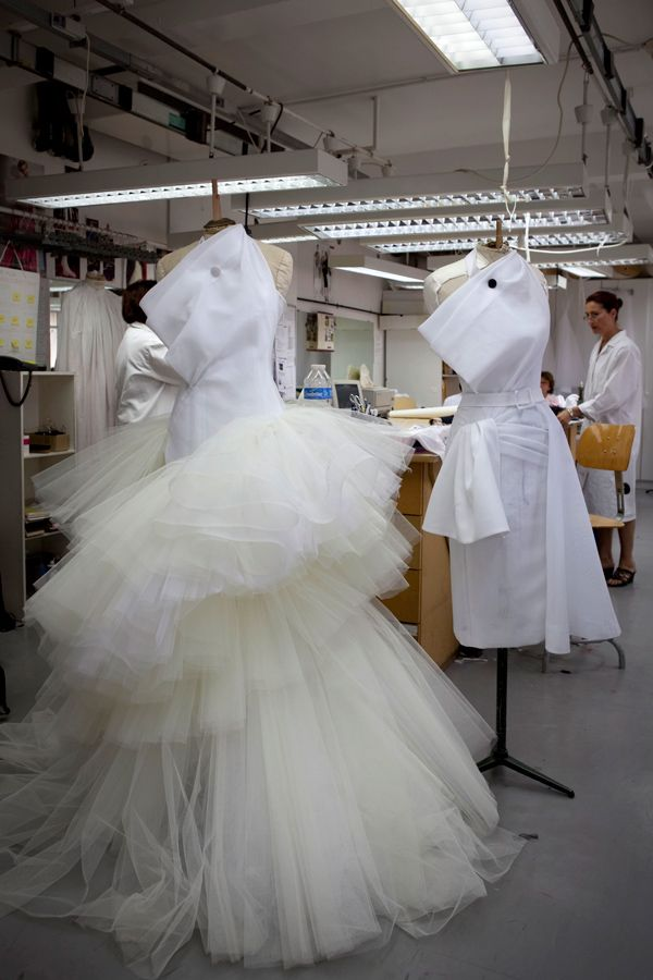 Left: Christian Dior haute couture f/w 2009     Right: The toile look in the atelier of Christian Dior