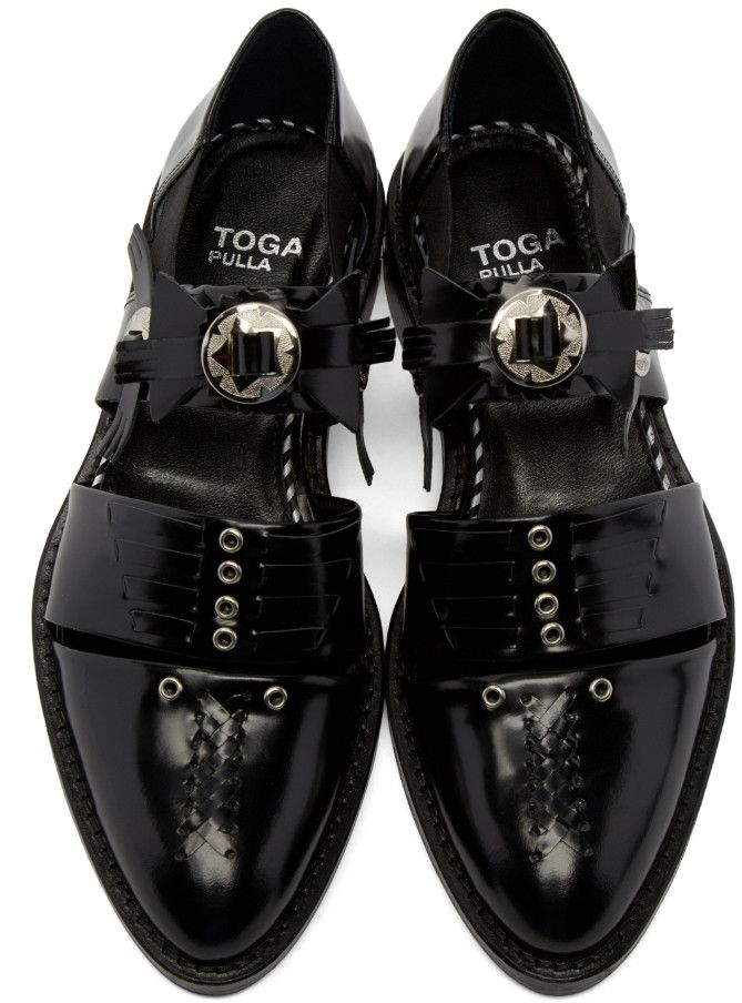 Toga Pulla - Black Cut-Out Buckle Boots