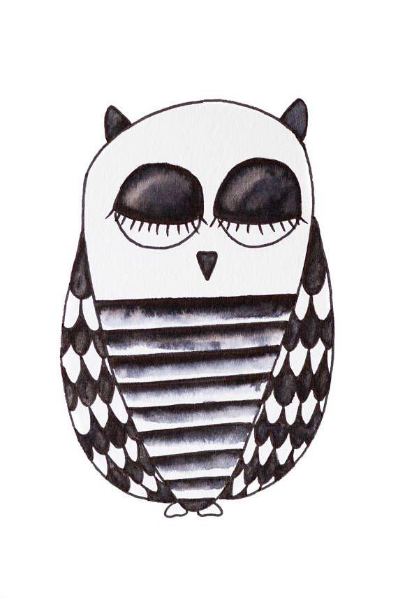 Hiboux illustration noir et blanc neutre décoration