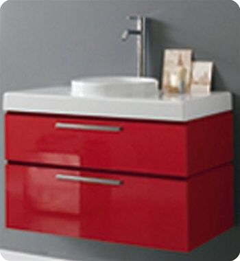 "LaToscana W 33 1/2"" Asia 85 Collection Red Modern Bathroom Vanity"