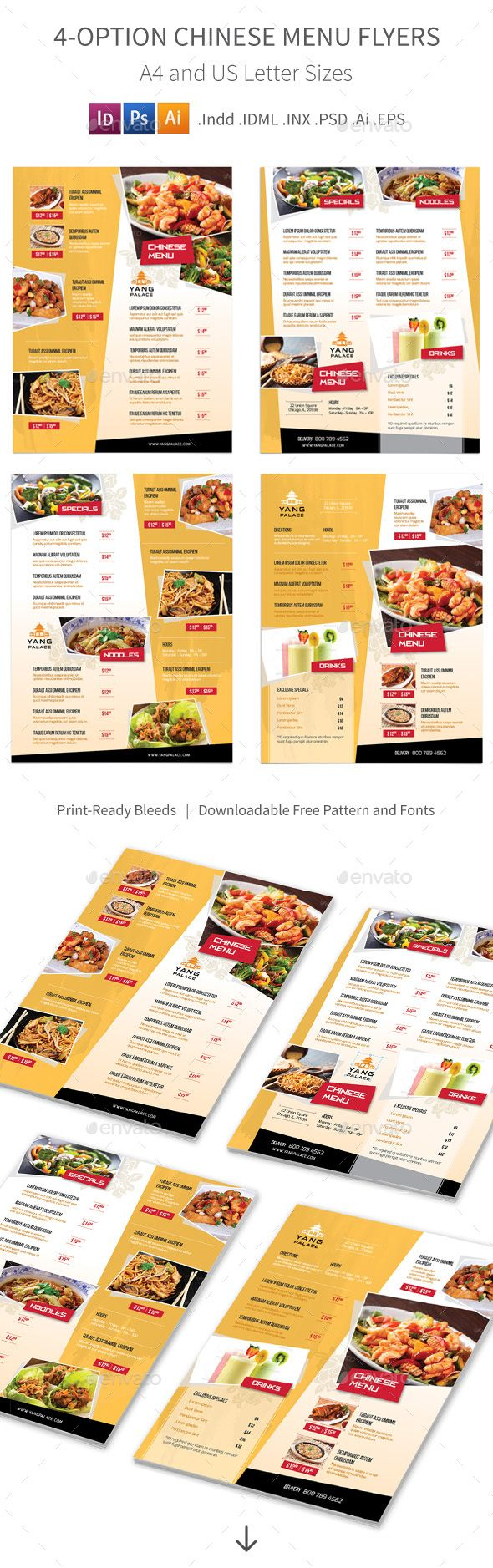4 Options Chinese Restaurant Menu Flyers Template PSD, Vector EPS, InDesign INDD, AI Illustrator. Download here: http://graphicriver.net/item/chinese-restaurant-menu-flyers-4-options/16097123?ref=ksioks