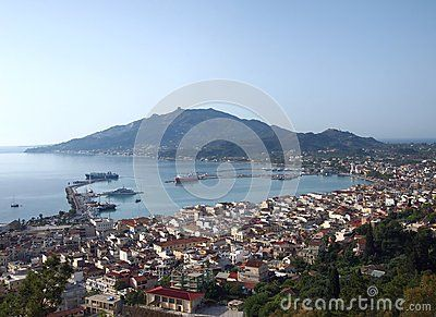 View of Zakynthos City  in Greece. Zakynthos is a tourist destination, with an international airport served by many charter flights from northern Europe. The island's nickname is To fioro tou Levante.