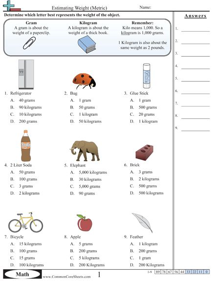10 best images about Weight worksheets on Pinterest ...
