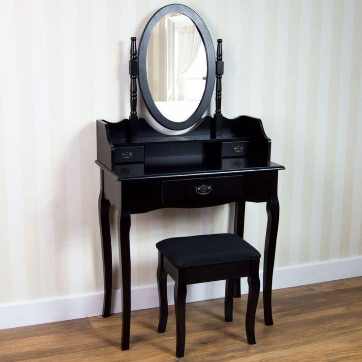 SEN216 - Set masă neagră de toaletă - makeup - http://www.emobili.ro/cumpara/sen216-set-masa-neagra-toaleta-cosmetica-machiaj-oglinda-masuta-scaun-1041 #eMobili