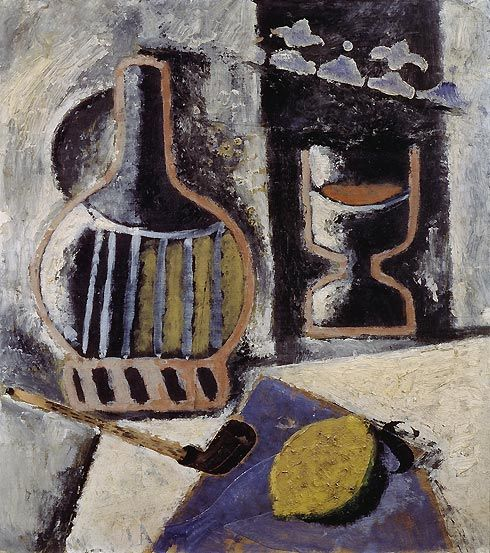 Ardengo  Soffici      Small Trophy (Trofeino), 1914–1915 Oil on canvas, 46.5 x 38.5 cm Gianni Mattioli Collection Long-term loan to the Peggy Guggenheim Collection, Venice