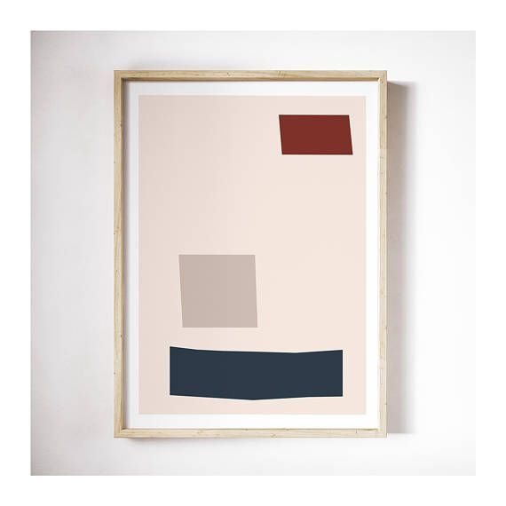 Printable | Geometric Mid Century Modern Print | Blush Pink Print | Beige Art | Red Blue Print | Minimal | Abstract | Large Wall Art | Decor  PLEASE NOTE:  This listing is an INSTANT DIGITAL DOWNLOAD SET OF THESE TWO PRINTS. No physical artwork will be sent. Once purchased, you will