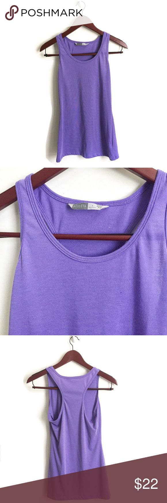 Athleta Shiva Purple Racerback Tank Athleta Tank Top ▫️Color: Purple ▫️Material: 60% polyester, 40% poly minerale ▫️Fit: True to Size (see measurements) ▫️Perfect for Working Out  ▫️Good Preowned Condition Athleta Tops Tank Tops