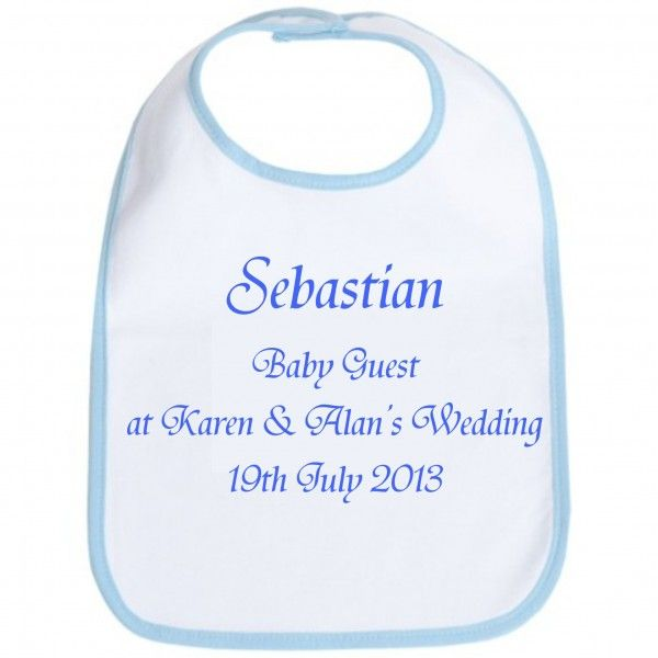 Wedding Baby Bib Personalised with a Name and Wedding Details