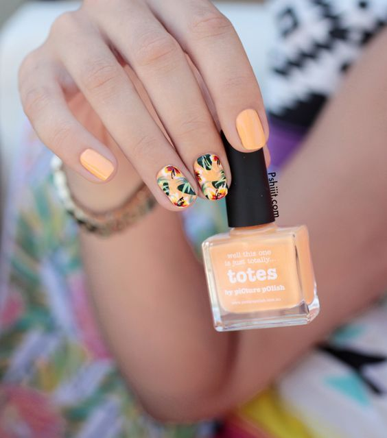 """thenightingalenailart: """" THE NAILS OF THE WEEK: Happy summer to everybody!! I share with you these gorgeous tropical nails. You can use other colours like blue, purple, coral or green if you don´t like orange. You can see how to do these nails..."""