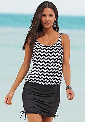LASCANA Badeanzug-Kleid in schwarz zickzack im OTTO Online Shop