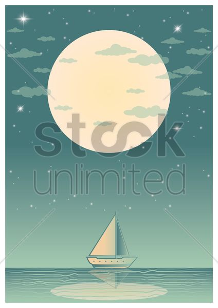 yacht poster vector graphic