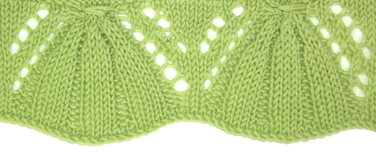 Gathered Bells is an unusual edging pattern, knit from the bottom up.  You'll find it in the Edging Stitches category.
