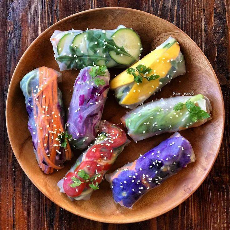 Rainbow Summer Rolls ☀️🌿 My favorite was mango, avocado + zucchini noodle…