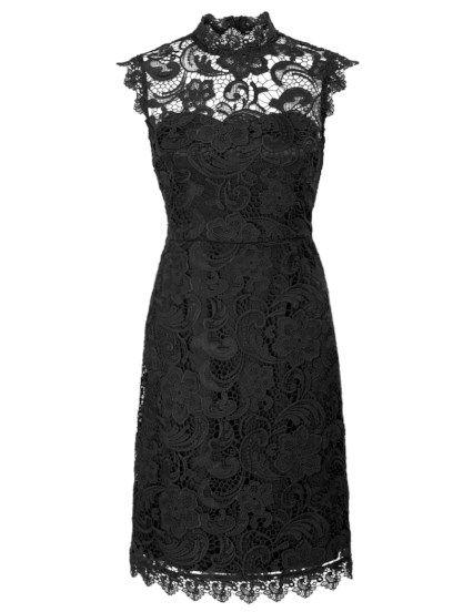 Kanten jurk met gesloten hals Zwart
