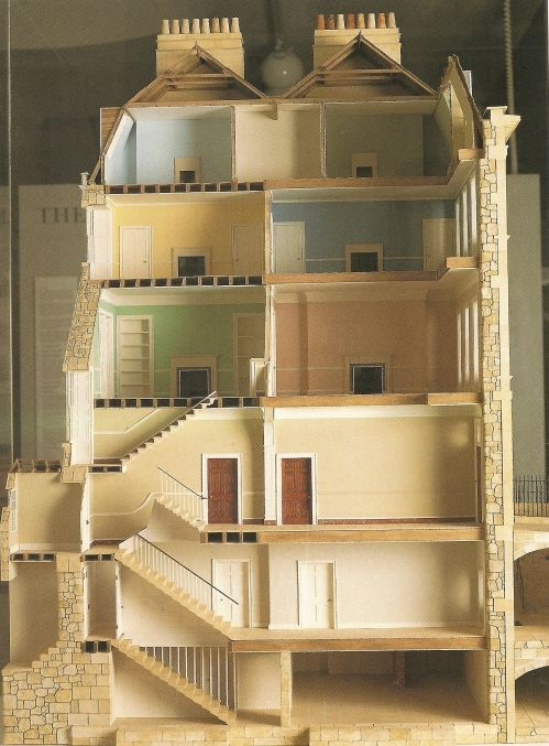 Cutaway of Georgian Townhouse in Bath. Keep this in mind when you read the English novels of this period.