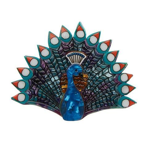 """Erstwilder Limited Edition Penelope Peacock Brooch. """"Peacocks surely must be the most supremely feathered jewel in all the world. What? Penelope can be a boy's name!"""""""