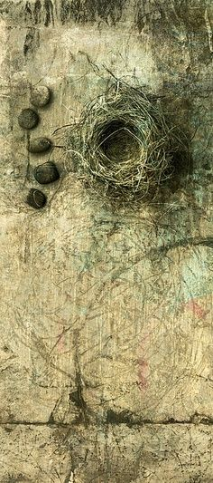 Nest and stones. A birds nest with some small river stones photo based illustration. Elena Ray, flickr.