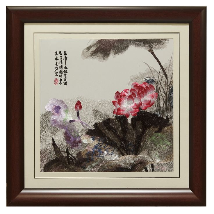 Silk Embroidery Frame with Pink Lotus