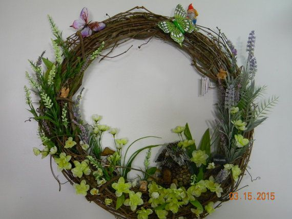 Hey, I found this really awesome Etsy listing at https://www.etsy.com/listing/226355839/fairy-garden-gnome-grapevine-wreath