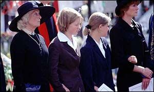 """Frances Shand-Kydd at Diana's funeral along with Diana's nieces and sister, Sarah. Sadly, it emerged at the theft trial of butler Paul Burrell, that Diana had not spoken to her mother in the last four months of her life. Diana was angry that her mother had given what she felt was a less than flattering interview about her to Hello Magazine including that Diana was happy to lose her HRH title. Diana was also reportedly angry about her mother's bigoted criticism of her for """"dating Muslim men""""."""